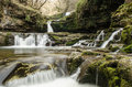 Brecon waterfall long exposure of in wales uk Royalty Free Stock Image