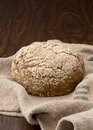 Bred fresh baked bread on top of a jute bag Stock Images