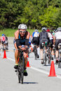 Bree wee in the coeur d alene ironman cycling event id june triathlete on bike part of triathlon june idaho Stock Image
