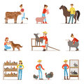 Breeding animals farmland. Farm profession worker people breeding livestock. Set of colorful cartoon detailed vector