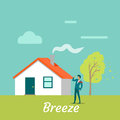 Breeze Gentle Wind Blowing on Young Man. Vector Royalty Free Stock Photo