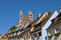 Breisach baden wuerttemberg germany spires of st stephansmünster st stephan s cathedral behind the roofes of old town houses Stock Photo