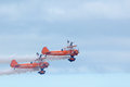 Breitling wing walkers at blackpool air show aerobatics team giving a daring walking the display Stock Photography