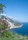 Brela makarska riviera dalmatia croatia coastal landscape at near in croatian adriatic sea Royalty Free Stock Photography