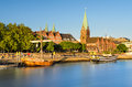 Bremen in evening light germany the old city of golden Stock Photography