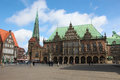 Bremen town hall or rathaus in germany on april is the second most populous city of northern germany Royalty Free Stock Image