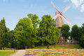 Bremen view of a windmill in the square in Royalty Free Stock Images