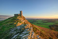 Brentor on dartmoor church perched a rocky outcrop national park in devon Royalty Free Stock Images