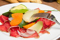 Bresaola with vegetables Stock Image