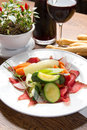 Bresaola with vegetables Royalty Free Stock Photography