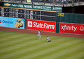 Brett Gardner slides in attempt to catch ball Stock Photo