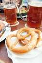 Bretzel and beer typical german bread with Stock Photography