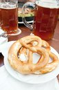 Bretzel typical german brad with beer Stock Image