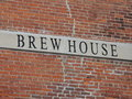 Brew house sign on brick building at leinenkugel brewery in chippewa falls wi Stock Image