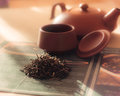 Brew tea on table with clay cups Royalty Free Stock Images
