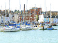 Brewers quay weymouth dorset with yachts moored at england uk Royalty Free Stock Images
