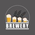 Brewery Beer Glasses Label Gra...