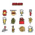 Brewing cartoon icons set