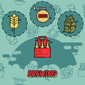 Brewing flat concept icons