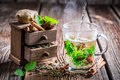 Brewing green tea with cinnamon on old wooden table Stock Images