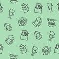Brewing icons set pattern