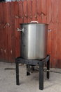 Brewing pot and burner used for home beer outside Royalty Free Stock Image