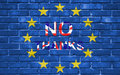 Brexit blue european union EU flag on brick wall and word no thanks with great britain flag