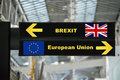 Brexit or british exit on airport sign board Royalty Free Stock Photo