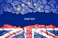 Brexit crack between flags of the uk and the eu space for text Stock Photo