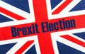 Brexit election, text on Union Jack flag.