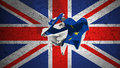 Brexit rolling crumpled paper with blue european union EU flag on grunge great britain uk flag Royalty Free Stock Photo