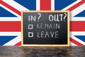 Brexit UK EU referendum concept with flag and handwriting text i Royalty Free Stock Photo