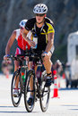 Brian ziegler in the coeur d alene ironman cycling event id june triathlete on bike part of triathlon june idaho Royalty Free Stock Photography