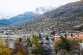 Briancon in autumn with mountains france Stock Photos