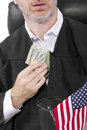 Bribery corrupt american judge taking money as a bribe or stealing Stock Photo