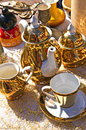 Bric a brac market with coffee cups Royalty Free Stock Photos