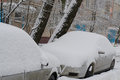 Brick apartment building in town with parked cars and trees in the yard after a snowfall.