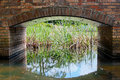 Brick arch over garden water feature Stock Image