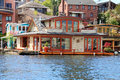 Brick boat house lake washington beatiful with glass door walkout deck and attached dock Stock Images