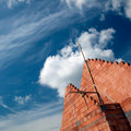 Brick building and cloudscape Royalty Free Stock Photo