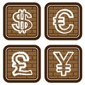 Brick buttons with icons of financial symbols Royalty Free Stock Photography