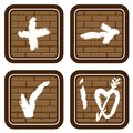 Brick buttons with icons from graphic symbols Royalty Free Stock Photography