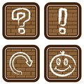 Brick buttons with icons of graphic symbols (2) Stock Photo