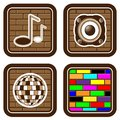Brick buttons with musical icons for web devices Stock Images