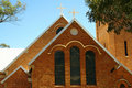 Brick church window and facade Royalty Free Stock Images