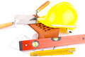 Brick and construction tools Royalty Free Stock Photo