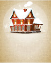 Brick cottage with snow covered roof on a beige background Stock Photo