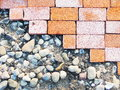 Brick footpath background closeup old Royalty Free Stock Photos
