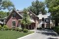 Brick home with circular stone entryway Royalty Free Stock Photo