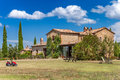 Brick house in the countryside of Tuscany, Italy. Rural landscape. Royalty Free Stock Photo